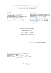 Рабочая программа Русский язык 1ВГ